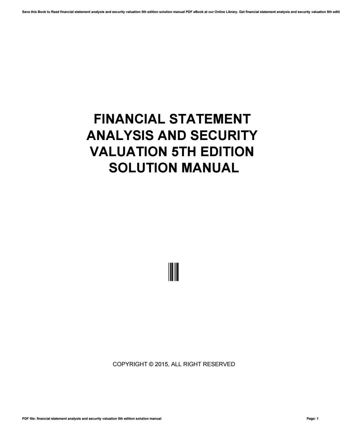 financial analysis and valuation ebook